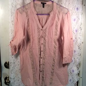 Blush colored button up top